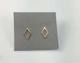 Delicate Gold Small Diamond Shape Stud Earrings, Geometric Studs, Minimalist, Everyday Earrings, Gift Under 30, Open Kite Gold Earrings