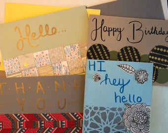 Handmade greeting cards - choose your own, blank inside, 5x7, A7