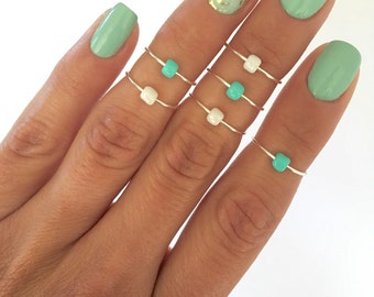 6 Simple Glass Bead Midi Rings, in Turquoise and Pearl
