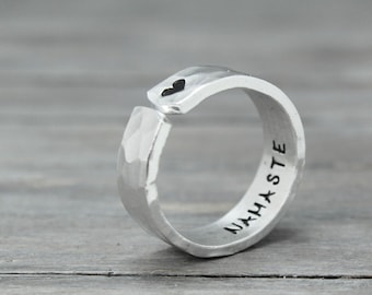 Namaste Ring, Hand Stamped Ring, Mantra Ring, Wrap Ring, Thumb Ring, Yoga Ring, personal gift idea, hammered ring
