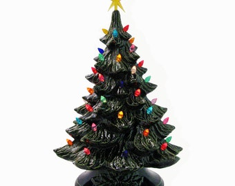 Ceramic Christmas Tree Like Those From Years Ago  18 Inch Tall with Color Lights Topped with Star Electric Lighted - Made to Order