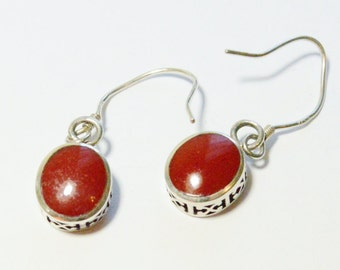 Vintage Sterling Silver Carnelian Enamel Filigree Simple Dangle Southwestern Style Pierced Earrings