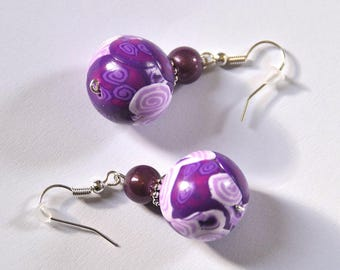 Earrings millefiori purple So romantic ° ° ° °
