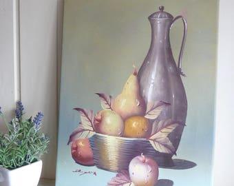 Still life Oil painting Art oil on canvas original signed art fruit grapes  jug canvas 1960s farmhouse style decor