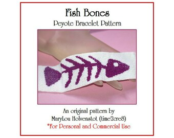 FISH BONES ... Peyote Bracelet Pattern Whimsical Fishbones Two Color Three Drop Peyote Wide Jewelry Beadweaving Tutorial Beading Instruction