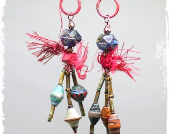 Tribal Earrings Anniversary Gift for Wife Beaded Dangle Hippie Gypsy Mixed Media Boho Chic Cluster with Sari Silk Multicolor Artisan OOAK