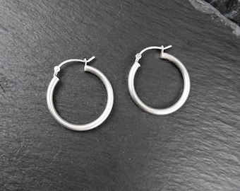 """Sterling Silver 0.9"""" Hoop Earrings   Vintage Women's Medium Hoop Earrings"""