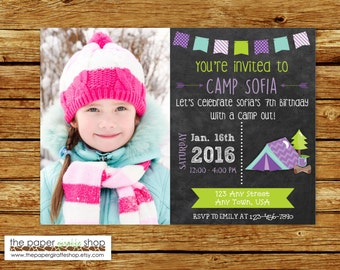 Camping Birthday Chalkboard Invitation with Photo | Purple Camping Invitation | Glamping Invitation | Glamping Party | Glamping Birthday
