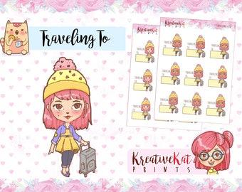Traveling To | Planner Stickers | Functional | Trip | Flight | Travel Stickers | Wanderlust | Traveler | Schedule Sticker | Kawaii | Cartoon