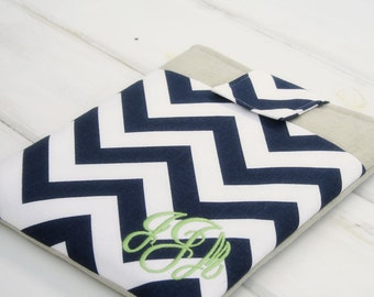 Monogrammed Personalized Ipad Sleeve, Tablet Accessories, Cases and Covers ipad, air, mini and other tablets in Navy Blue Chevron and Linen