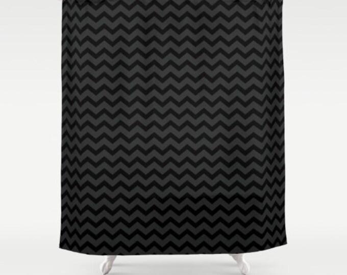 Black and Gray Chevron Shower Curtain - Small Chevron Print - Bathroom Decor - Made to Order