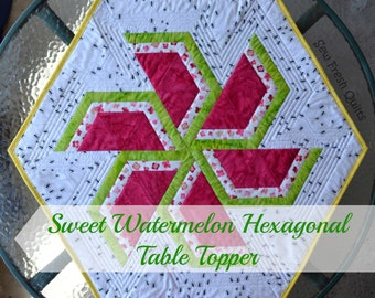 Sweet Watermelon Quilt Pattern, PDF, instant download, Spring Summer, Decor, Table Runner, Table Topper, Hexagon, Triangle, modern patchwork