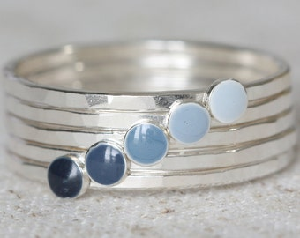 Sterling Silver Ombré Stack Rings in Grey