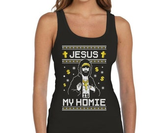 Jesus is My Homie Ugly Christmas Sweater - Women's Tank Top Vest