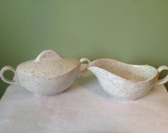 Melmac sugar bowl and creamer set