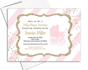 Glitter baby shower invitations pink and gold, printable or printed invitations, baby stroller stripes, girl baby shower invites - WLP00736