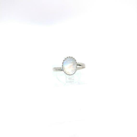 Simple Moonstone Ring   Rainbow Moonstone Ring   Sterling Silver Ring Sz 7   Ice Clear Moonstone Ring   June Birthstone Ring