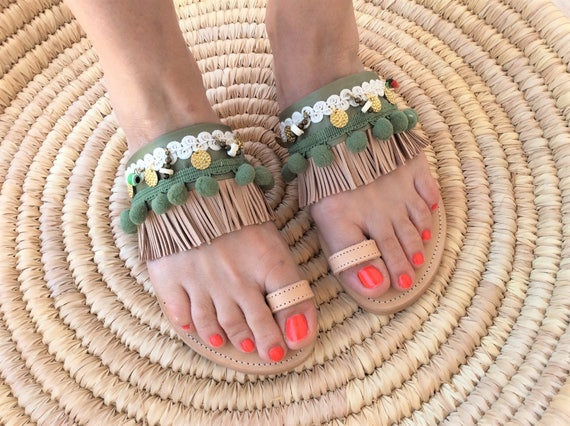 Pom Gypsy Sandals Women's Greek Sandals Chaki Look Ethnic Leather Shoes Sandals Sandals Boho Sandals Gift Pom Women's Beige Sandals xTqx4wg