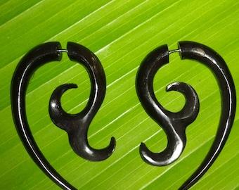 fake gauge black horn boffalow ,carving tribal, handmade.