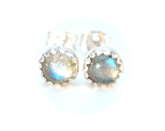 Small Labradorite Stud Earrings