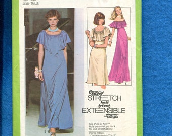 1970's Simplicity 8737 Evening Dress with Off Shoulder Ruffle Size 14.5..16.5..18.5