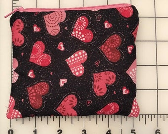 Zippered pouch - hearts