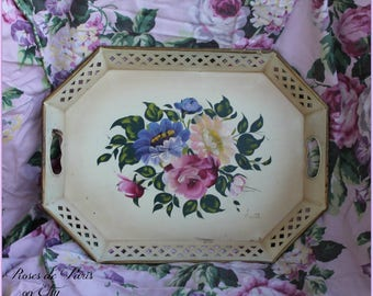 cream tole tray with roses  ~ NASHCO nice size SIGNED
