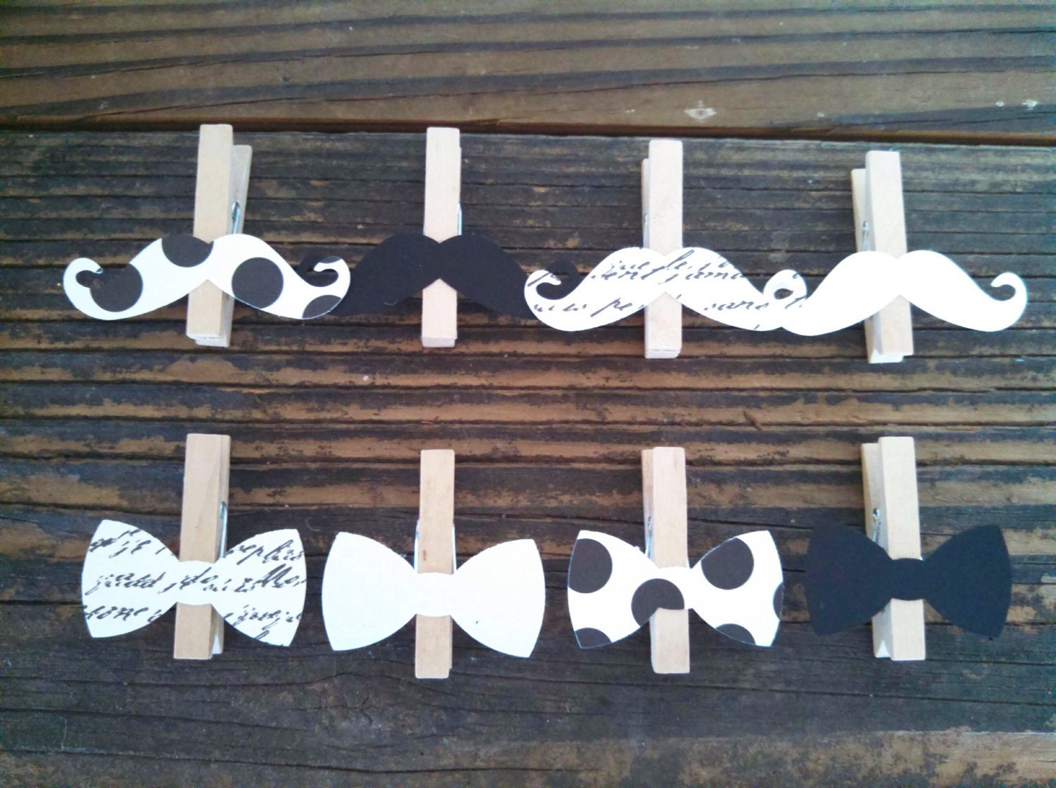 bow tie mustache clothespin baby shower decoration dont say. Black Bedroom Furniture Sets. Home Design Ideas