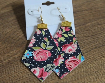 Naked Phoenix Leather Earrings - Navy Floral Dot