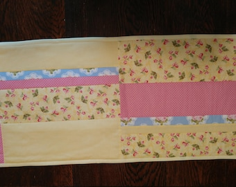 Cottage Chic Quilted Table Runner or Dresser Scarf, Handmade Quilted Runner