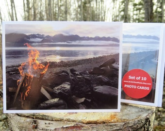 Rocky Beach Campfire - Glossy Greeting Card - Set of 10