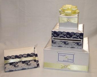 Elegant Custom made Wedding Card BoxLace design two tiers