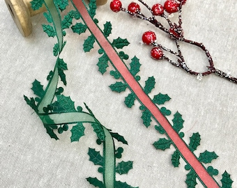 Holly Trim - Green Sheer Organza Holly Leaf Embellishment - Christmas Satin Holly & Berry - Red Sheer Organza Holly Trim - Christmas