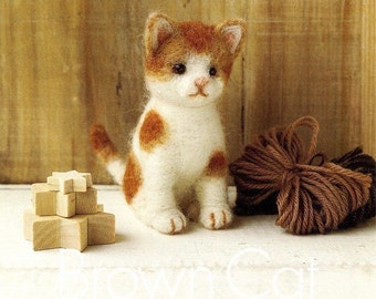 DIY handmade Japanese Felt Wool Cat Kit Packages - 2 cat to choose from