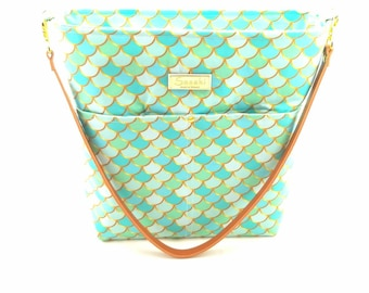 MTO - Aqua Mermaid Scales Shoulder Bag with Leather Strap - 9 pockets