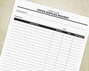 Office Supplies Request Printable Form PDF, Business Expenses, Office Equipment - Editable Custom Template, Digital File, Instant Download