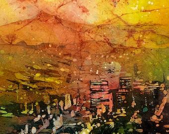 Mt. Hood & skyline of downtown Portland- Portland, Oregon, Portland painting, Portland fine art print, Watercolor batik painting art