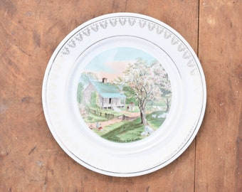 Currier and Ives, Decorative Plate, Spring Scene, Cabin Scene, Homestead, Sheep Decor, Made in Japan, Pinks and Greens, Hanging Plate