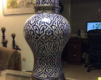 Handmade Moroccan Lidded Vase with Metalwork, Blue and White