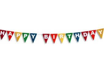 HAPPY BIRTHDAY Flag Banner, Happy Birthday Flag Garland, Birthday Banner, Birthday Garland, Birthday decoration, Bunting
