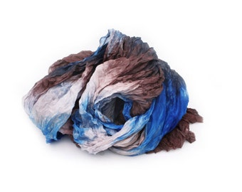 brown silk scarf - Nothern Chocolate Wind -  brown, blue silk scarf.