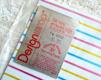 Vintage Wrapping Paper - Pastel Metallic Stripe on White - Full Unused Sheet