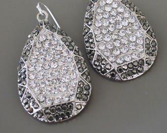 Art Deco Earrings - Crystal Earrings - Antiqued Silver Earrings - Black White Earrings - Hollywood Glam Earrings - Handmade Jewelry