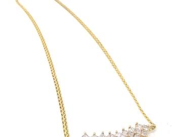 14k yellow gold necklace with princess cut diamonds