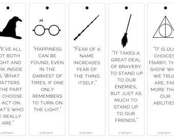 Set of 5 Harry Potter themed bookmarks