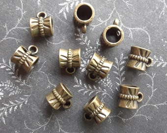 Bronze Charm Bail - 10 Bronze Charm Bails - 7mm Charm Connectors - 7mm Bails - Destash Bronze Beads - Clearance Bronze Beads