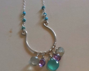 The Ella necklace. Turquoise, amethyst and blue chalcedony necklace