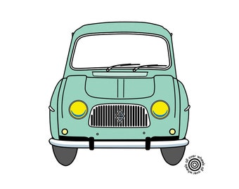 RENAULT R4 T-SHIRT 1st series front end grille Classic Renault 4 DTG printed on 100% cotton Original art by WheelsAllOver