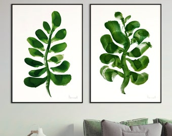 Set of 2 Prints, Printable Greenery Home Decoration, digital downloads, Printable Abstract, instant download, Nature Wall Decor, Art set