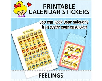 PRINTABLE Cute Kawaii Kokeshi Doll Calendar Stickers for Filofax Organizer Instant Download (Feelings)
